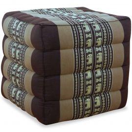 Kapok Würfel-Sitzkissen  braun / Elefanten