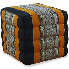 Kapok Würfel-Sitzkissen  schwarz / orange