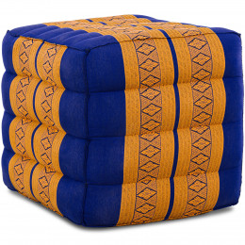Kapok Würfel-Sitzkissen  blau / gelb