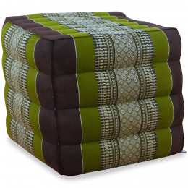 Kapok Würfel-Sitzkissen  braun / grün