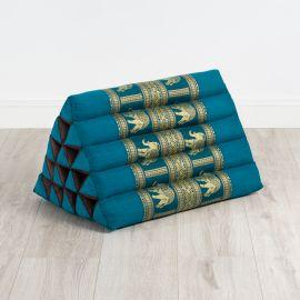 Kapok Dreieckskissen mit Seidenstickerei, extrahoch, hellblau-Elefanten
