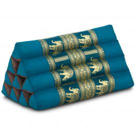 Kapok Dreieckskissen mit Seidenstickerei, hellblau-Elefanten