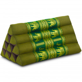 Kapok Dreieckskissen mit Seidenstickerei, grün-Elefanten