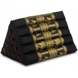 Kapok Dreieckskissen mit Seidenstickerei, extrahoch, schwarz-Elefanten