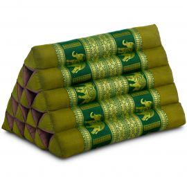 Kapok Dreieckskissen mit Seidenstickerei, extrahoch, grün-Elefanten