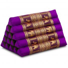 Kapok Dreieckskissen mit Seidenstickerei, extrahoch, lila-Elefanten