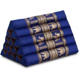 Kapok Dreieckskissen mit Seidenstickerei, extrahoch, blau-Elefanten