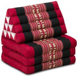 Kapok Thaikissen, Dreieckskissen, rot/Elefant, 3 Auflagen