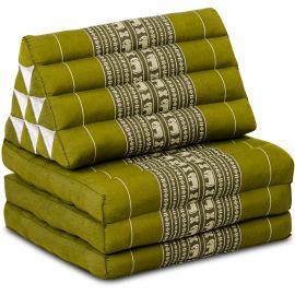 Kapok Thaikissen, Dreieckskissen, grün/Elefant, 3 Auflagen