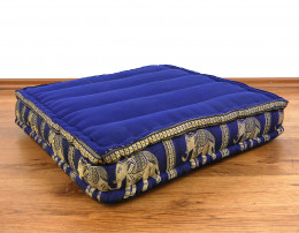 Kapok Thaikissen, Bodensitzkissen, Meditationskissen  blau / Elefanten