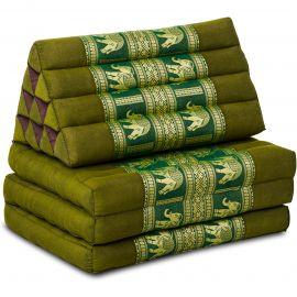 Thaikissen Deluxe mit Seidenstickerei,  grün/Elefant