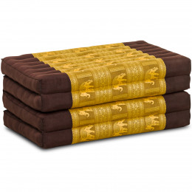 Kapok Faltmatratze, Klappmatratze, Braun-Gold mit edler Seidenstickerei