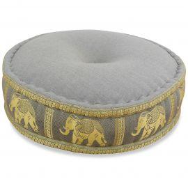 Zafu Meditationskissen, Seide, grau / Elefanten