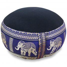 kleines Zafu Meditationskissen, Seide, schwarz-blau/ Elefanten