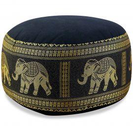 kleines Zafu Meditationskissen, Seide, schwarz / Elefanten