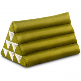 Kapok Dreieckskissen, Thaikissen, Rückenlehne, grün einfarbig