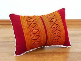 kleines Kapok-Kissen Dekokissen rot / gelb, 22 cm x 33 cm x 13 cm