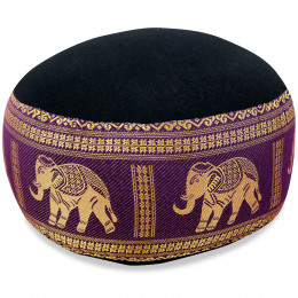 kleines Zafu Meditationskissen, Seide, schwarz-lila / Elefanten
