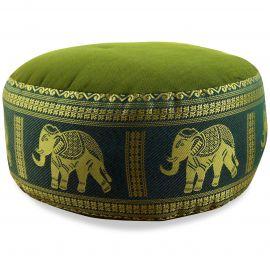 kleines Zafu Meditationskissen, Seide, grün / Elefanten