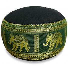kleines Zafu Meditationskissen, Seide, schwarz-grün / Elefanten