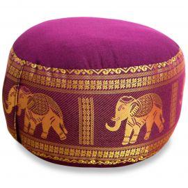 kleines Zafu Meditationskissen, Seide, dunkelrosa(pink) / Elefanten